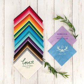 Personalized Wedding Angled 3-Ply Traditional Beverage Napkins