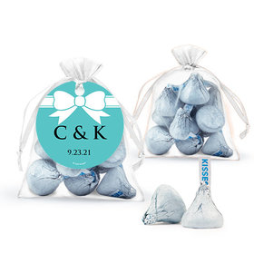 Personalized Wedding Favor Assembled Organza Bag Filled with Hershey's Kisses