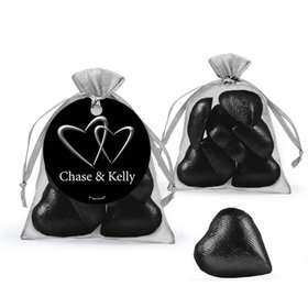 Personalized Wedding Favor Assembled Organza Bag Filled with Milk Chocolate Hearts