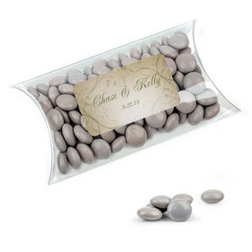 Personalized Wedding Favor Assembled Pillow Box Filled with Just Candy Milk Chocolate Minis