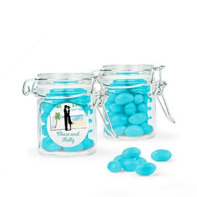 Personalized Wedding Favor Assembled Swing Top Round Jar Filled with Just Candy Jelly Beans