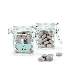 Personalized Wedding Favor Assembled Swing Top Round Jar Filled with Just Candy Milk Chocolate Minis