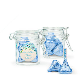 Personalized Wedding Favor Assembled Swing Top Round Jar Filled with Hershey's Kisses