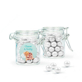 Personalized Wedding Favor Assembled Swing Top Round Jar Filled with Sixlets