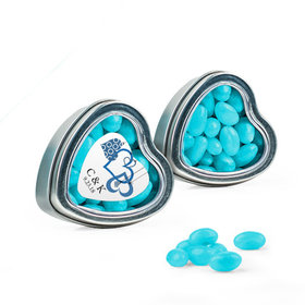 Personalized Wedding Favor Assembled Heart Tin Filled with Just Candy Jelly Beans
