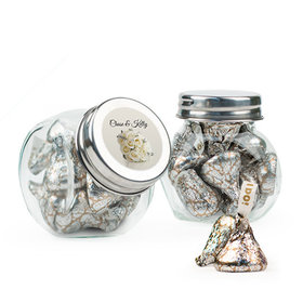 Personalized Wedding Favor Assembled Mini Side Jar Filled with Hershey's Kisses