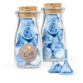 Personalized Wedding Favor Assembled Glass Bottle with Cork Top Filled with Hershey's Kisses