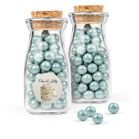 Personalized Wedding Favor Assembled Glass Bottle with Cork Top Filled with Sixlets