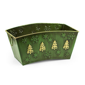 Christmas Green Pine Tree & Snow Flakes Basket
