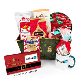 Deluxe Add Your Corporate Logo Merry Christmas Candy Gift Basket
