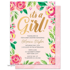 Bonnie Marcus Collection Personalized Watercolor Blossom Girl Invitation