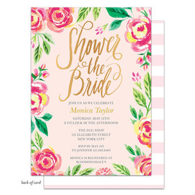 Bonnie Marcus Collection Personalized Watercolor Pink Blossoms Invitation