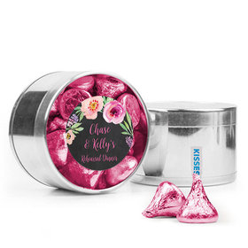 Personalized Rehearsal Dinner Favor Assembled Medium Round Plastic Tin Filled with Hershey's Kisses