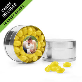 Personalized Rehearsal Dinner Favor Assembled Small Round Plastic Tin Filled with Just Candy Jelly Beans