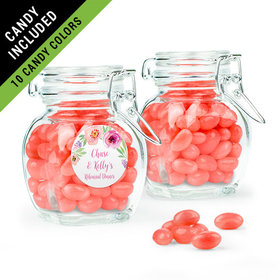 Personalized Rehearsal Dinner Favor Assembled Swing Top Jar Filled with Just Candy Jelly Beans