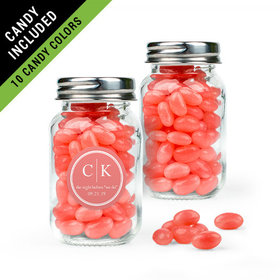 Personalized Rehearsal Dinner Favor Assembled Mini Mason Jar Filled with Just Candy Jelly Beans