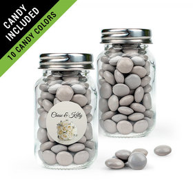 Personalized Rehearsal Dinner Favor Assembled Mini Mason Jar Filled with Just Candy Milk Chocolate Minis