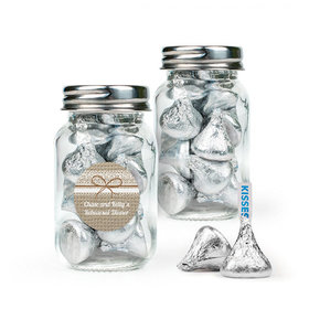 Personalized Rehearsal Dinner Favor Assembled Mini Mason Jar Filled with Hershey's Kisses