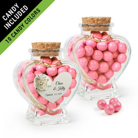 Personalized Rehearsal Dinner Favor Assembled Heart Jar Filled with Sixlets