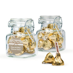 Personalized Rehearsal Dinner Favor Assembled Swing Top Square Jar Filled with Hershey's Kisses