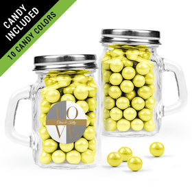 Personalized Rehearsal Dinner Favor Assembled Mini Mason Mug Filled with Sixlets