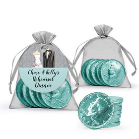 Personalized Rehearsal Dinner Favor Assembled Gift tag, Organza Bag Filled with Milk Chocolate Coins