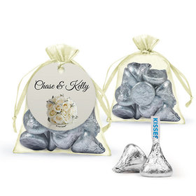 Personalized Rehearsal Dinner Favor Assembled Organza Bag Filled with Hershey's Kisses