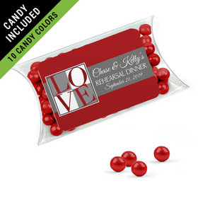 Personalized Rehearsal Dinner Favor Assembled Pillow Box Filled with Sixlets