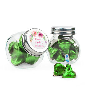 Personalized Rehearsal Dinner Favor Assembled Mini Side Jar Filled with Hershey's Kisses