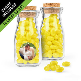 Personalized Rehearsal Dinner Favor Assembled Glass Bottle with Cork Top Filled with Just Candy Jelly Beans