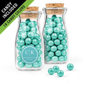 Personalized Rehearsal Dinner Favor Assembled Glass Bottle with Cork Top Filled with Sixlets