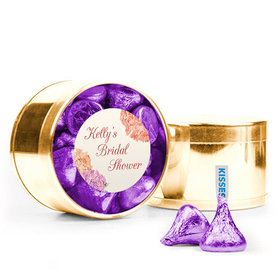Personalized Bridal Shower Favor Assembled Medium Round Plastic Tin Filled with Hershey's Kisses