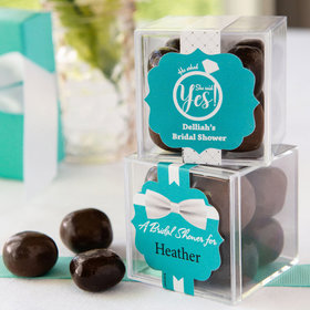 Personalized Bridal Shower JUST CANDY® favor cube with Premium Milk & Dark Chocolate Sea Salt Caramels