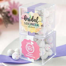 Personalized Bridal Shower JUST CANDY® favor cube with Premium Confetti Cookie Bites