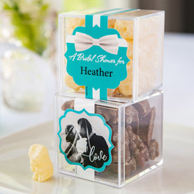 Personalized Bridal Shower JUST CANDY® favor cube with Premium Chocolate Covered Gummy Bears