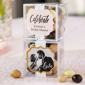 Personalized Bridal Shower JUST CANDY® favor cube with Premium New York Espresso Beans