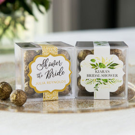 Personalized Bridal Shower JUST CANDY® favor cube with Premium Sparkling Prosecco Cordials - Dark Chocolate