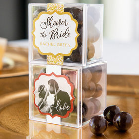 Personalized Bridal Shower JUST CANDY® favor cube with Premium Rum Cordials - Dark Chocolate