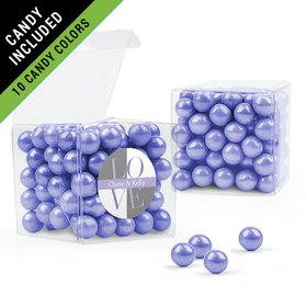 Personalized Bridal Shower Favor Assembled Clear Box Filled with Sixlets