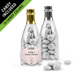 Personalized Bridal Shower Favor Assembled Champagne Bottle Filled with Just Candy Milk Chocolate Minis