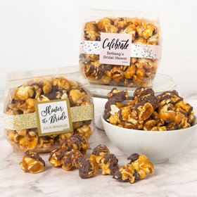 Personalized Bridal Shower Chocolate Caramel Sea Salt Gourmet Popcorn 3.5 oz Bags
