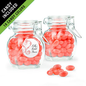 Personalized Bridal Shower Favor Assembled Swing Top Jar Filled with Just Candy Jelly Beans