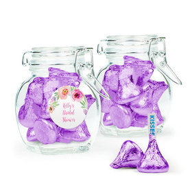 Personalized Bridal Shower Favor Assembled Swing Top Jar Filled with Hershey's Kisses
