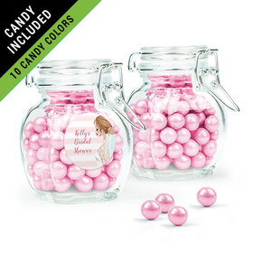 Personalized Bridal Shower Favor Assembled Swing Top Jar Filled with Sixlets