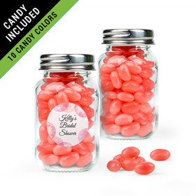 Personalized Bridal Shower Favor Assembled Mini Mason Jar Filled with Just Candy Jelly Beans