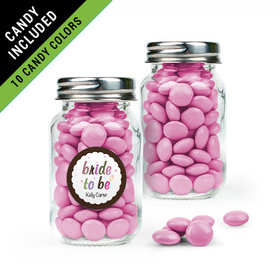 Personalized Bridal Shower Favor Assembled Mini Mason Jar Filled with Just Candy Milk Chocolate Minis