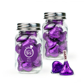 Personalized Bridal Shower Favor Assembled Mini Mason Jar Filled with Hershey's Kisses