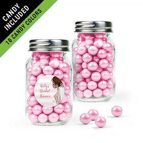 Personalized Bridal Shower Favor Assembled Mini Mason Jar Filled with Sixlets