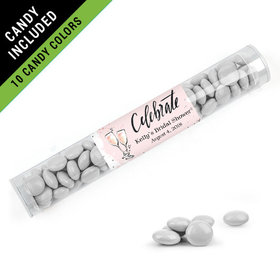 Personalized Bridal Shower Favor Assembled Clear Tube Filled with Just Candy Milk Chocolate Minis