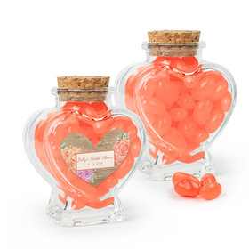 Personalized Bridal Shower Favor Assembled Heart Jar Filled with Just Candy Jelly Beans